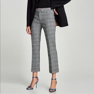 Zara Plaid Checked Tartan Kick Flare Trouser Sz 12